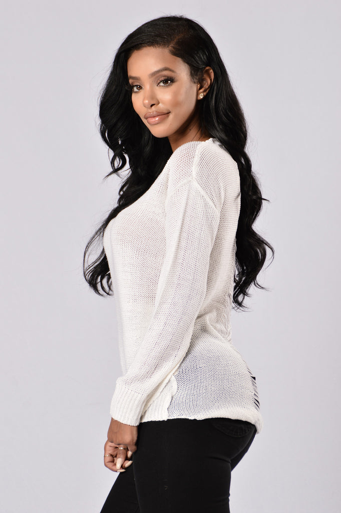 Looking For Fun Sweater - White