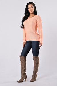 Looking For Fun Sweater - Peach Angle 5