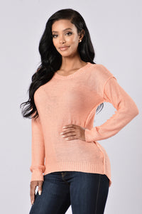 Looking For Fun Sweater - Peach Angle 2