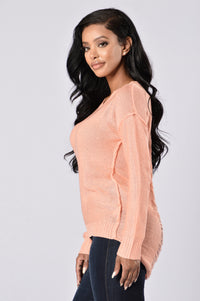 Looking For Fun Sweater - Peach Angle 3