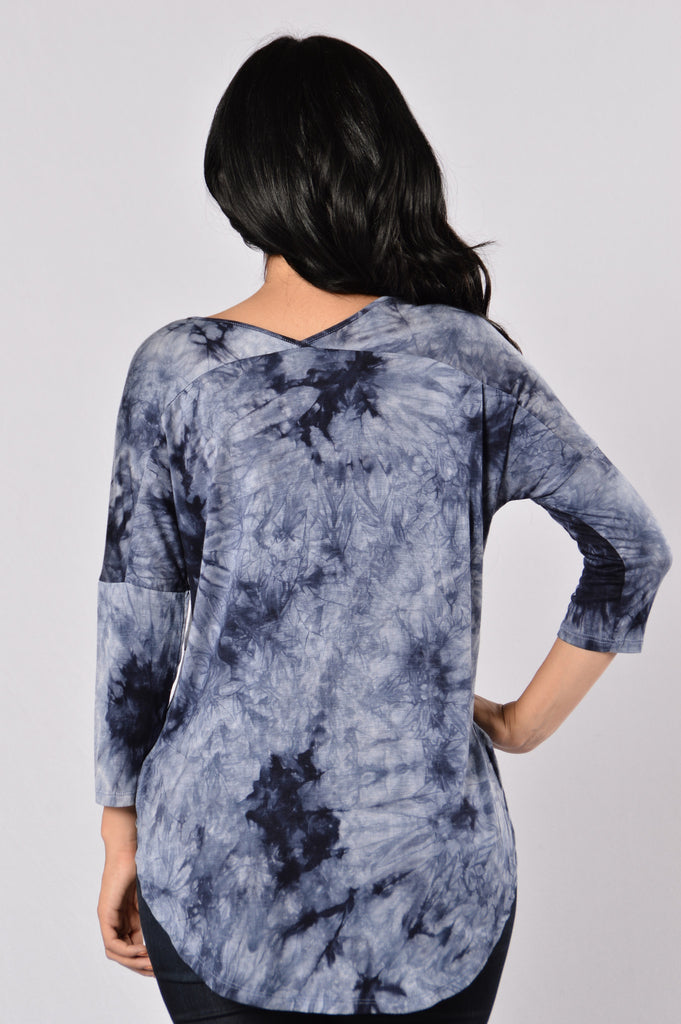 Need Therapy Tie Dye Top - Navy