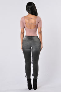 Back To Basics Bodysuit - Mauve Angle 6