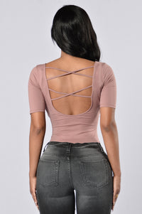 Back To Basics Bodysuit - Mauve Angle 1