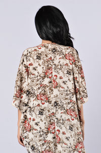 Always In Floral Kimono - Ivory Angle 2