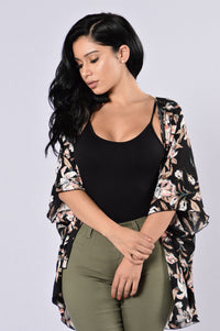 Wrapped In Flowers Kimono - Black Multi Angle 1