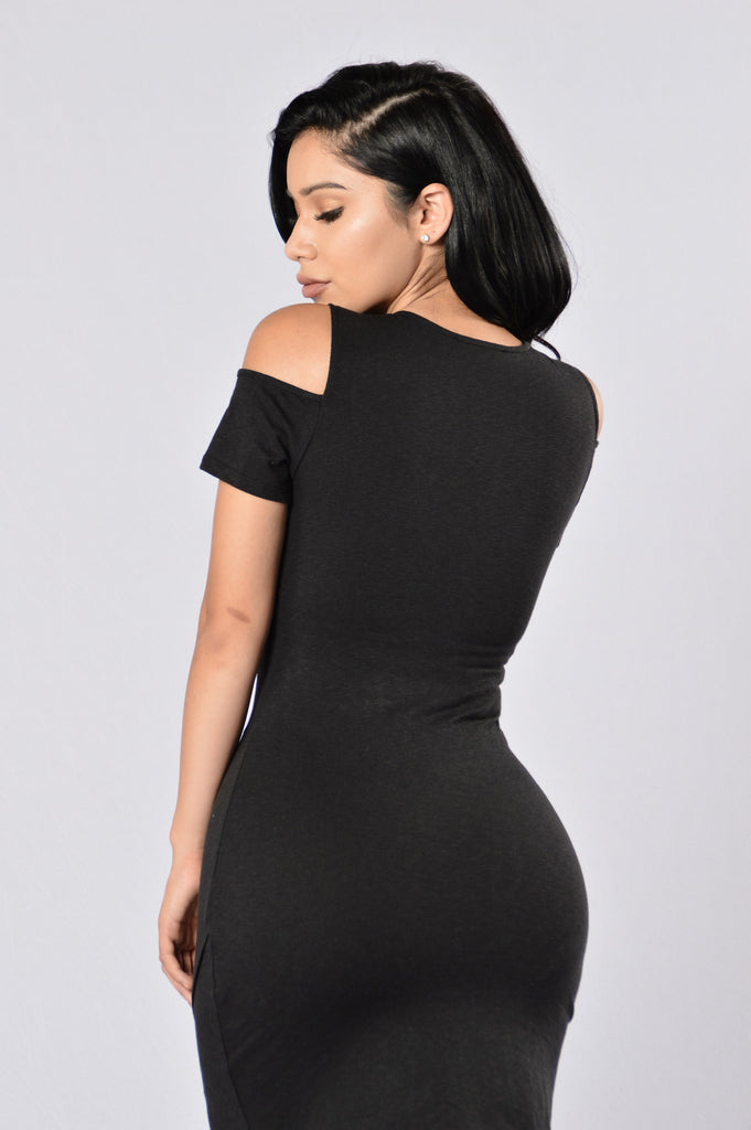 Split Up Dress - Black