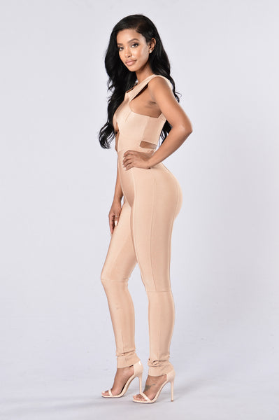 So Damn Fine Bandage Jumpsuit - Nude