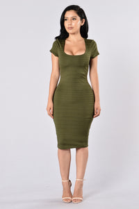 Old Flame Dress - Olive Angle 1