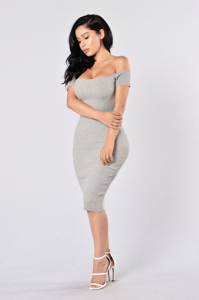 Crush On Me Dress - Heather Grey