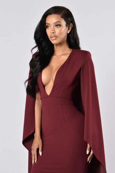 Can't Find Me Cape Dress - Wine