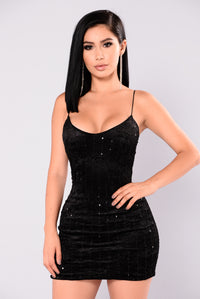 Martha Velvet Dress - Black Angle 1