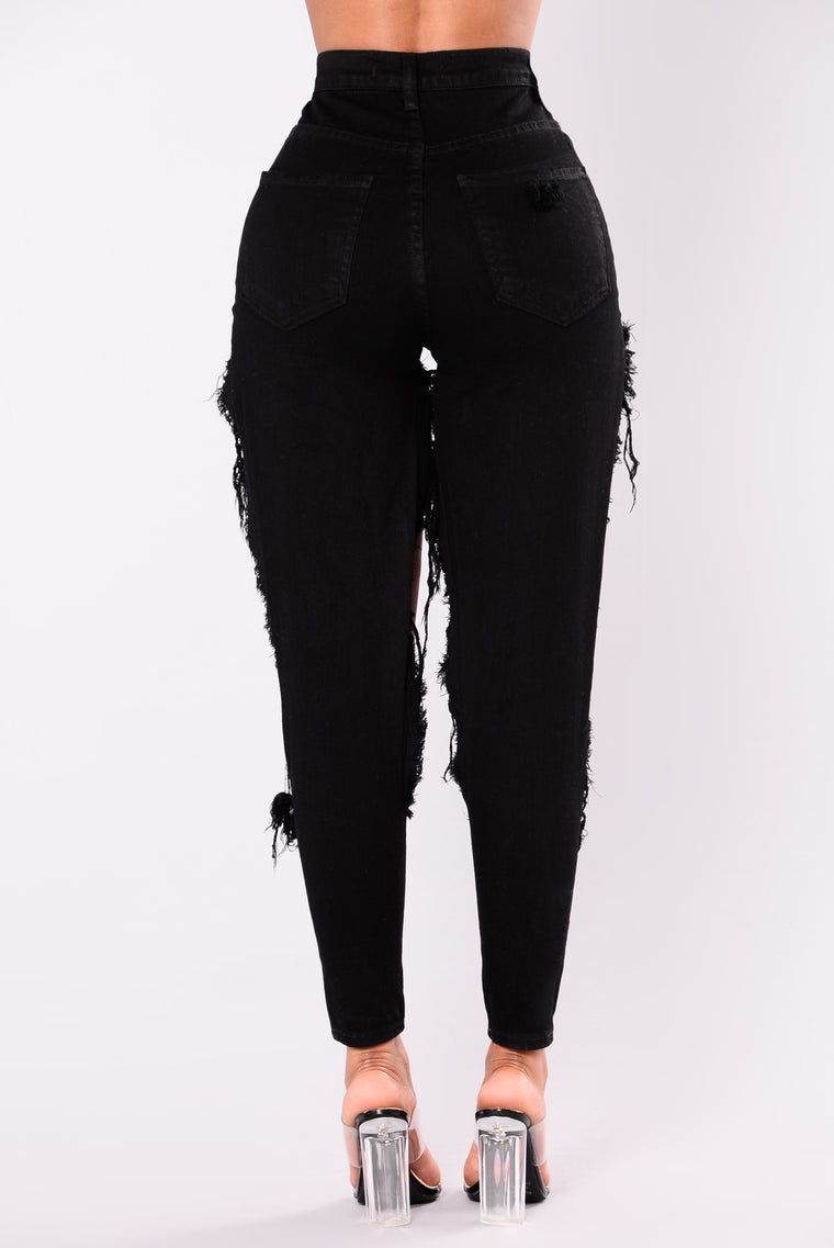 Oh My Slit Distressed Jeans - Black