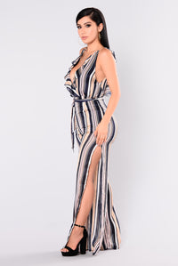 Candid Stripe Jumpsuit - Navy