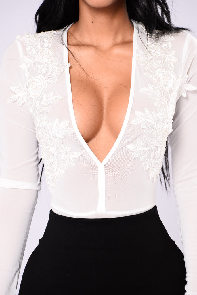 Ember Beaded Bodysuit - White
