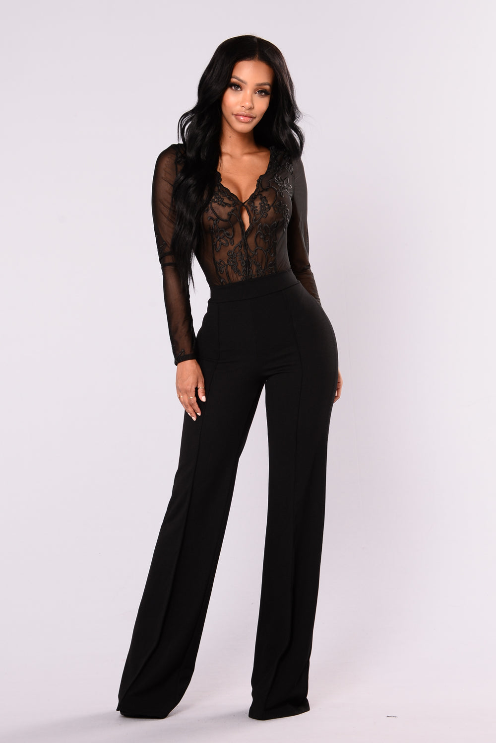 Fawn Embroidered Bodysuit - Black