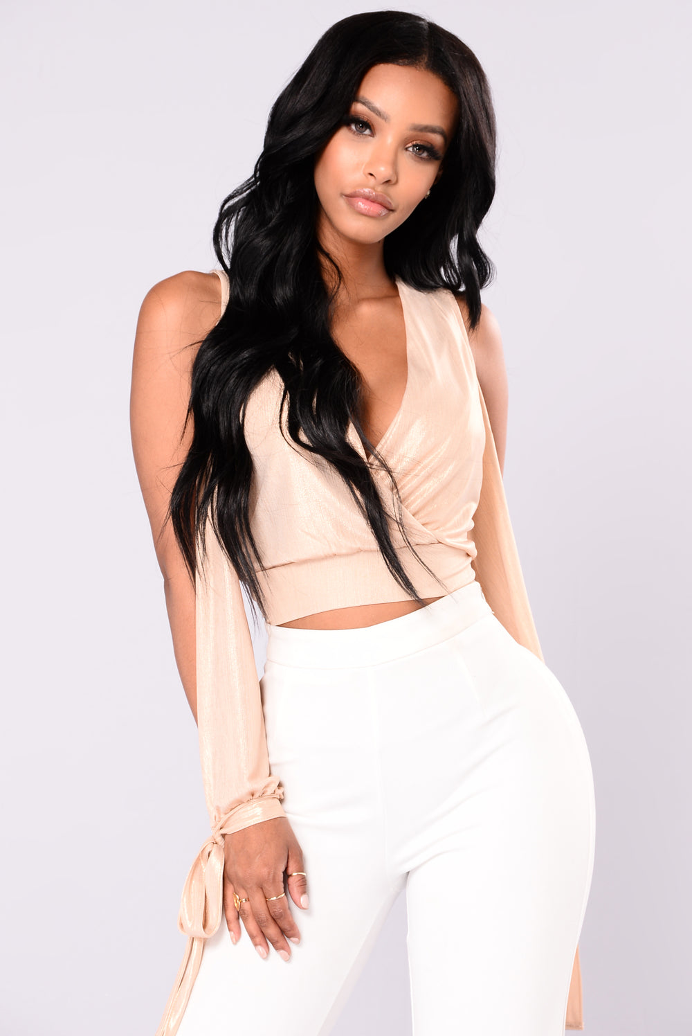 Maybe It's You Cold Shoulder Top - Champagne