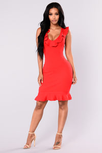Elicia Ruffle Dress - Red