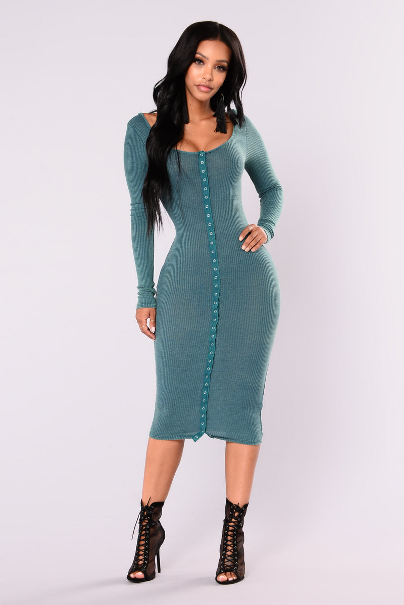 Snap Story Ribbed Dress - Green