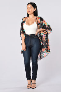 Nothing But Flowers Kimono - Black/Orange Angle 5