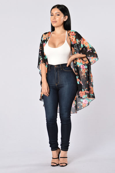 Nothing But Flowers Kimono - Black/Orange
