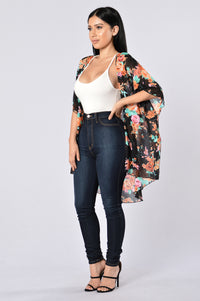 Nothing But Flowers Kimono - Black/Orange Angle 6