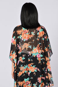 Nothing But Flowers Kimono - Black/Orange Angle 3