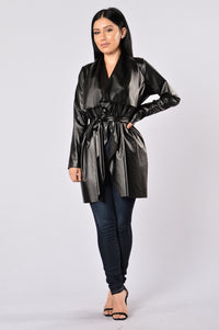 Meet At Borders Duster Jacket - Black Angle 5
