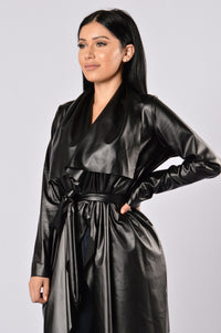 Meet At Borders Duster Jacket - Black Angle 2