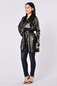 Meet At Borders Duster Jacket - Black Angle 7