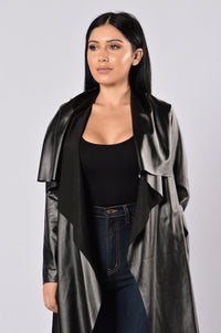 Meet At Borders Duster Jacket - Black Angle 1