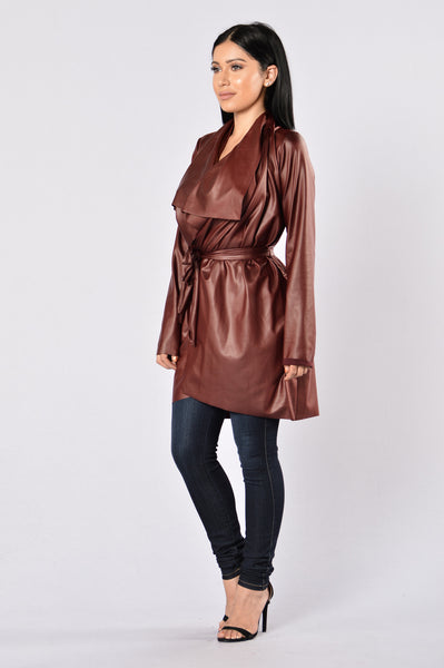 Meet At Borders Duster Jacket - Burgundy