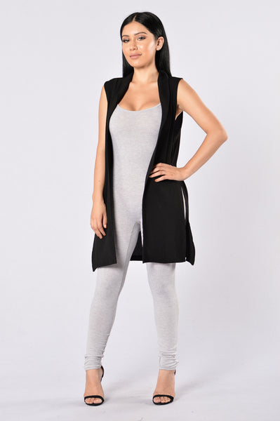 Crack The Code Duster Vest - Black