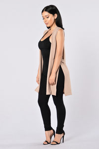 Crack The Code Duster Vest - Mocha