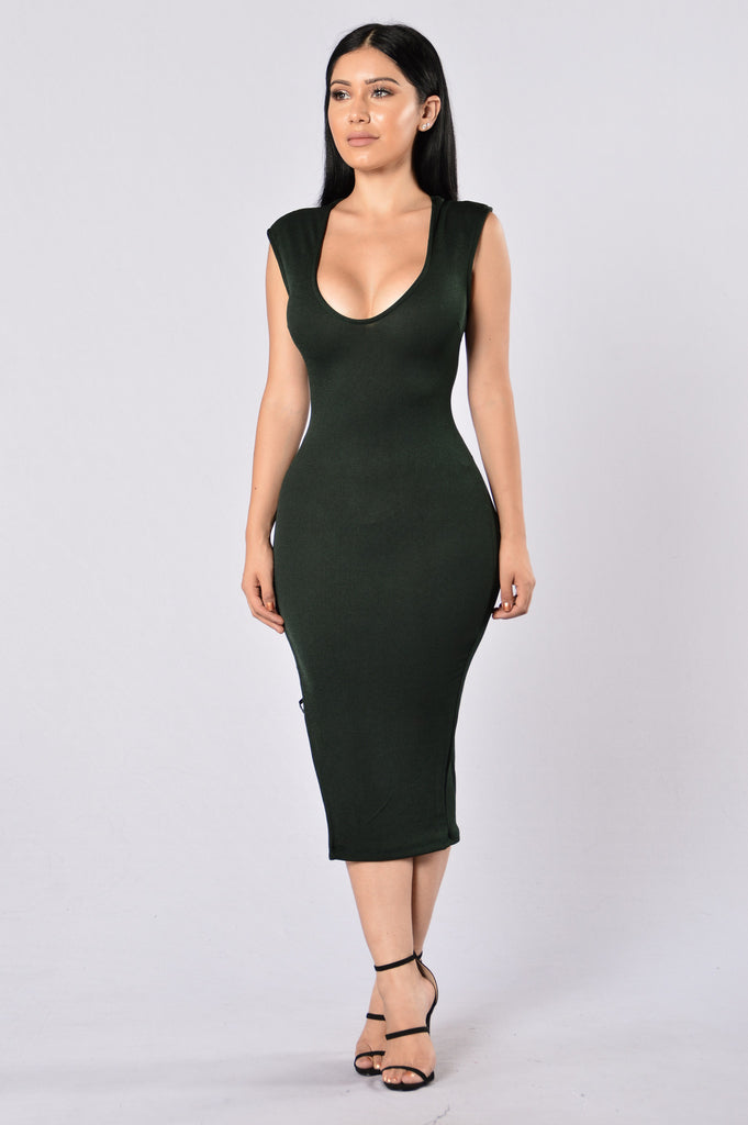 No Mercy Dress - Hunter Green