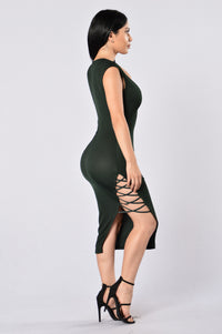 No Mercy Dress - Hunter Green Angle 3
