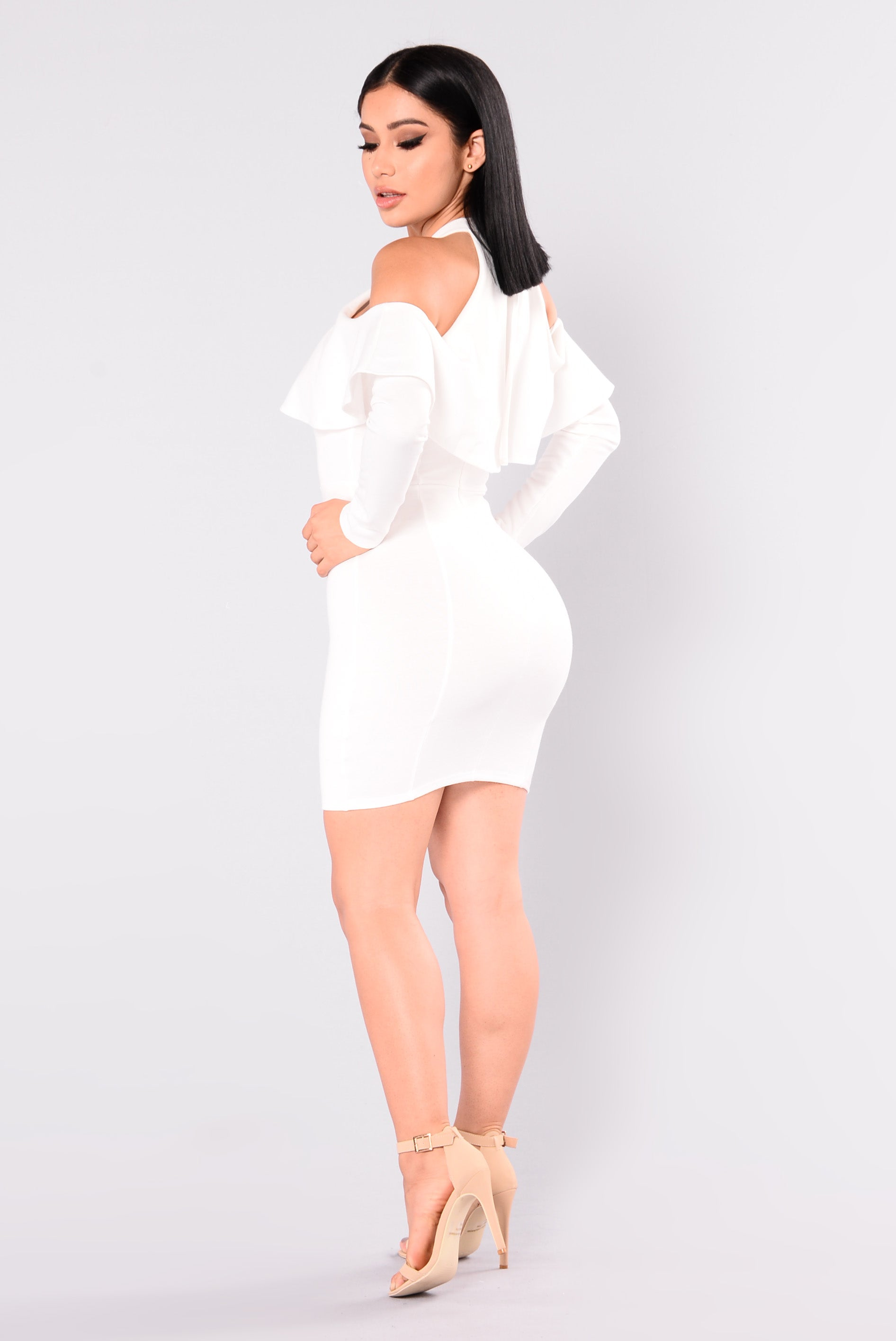 White flounce dress.