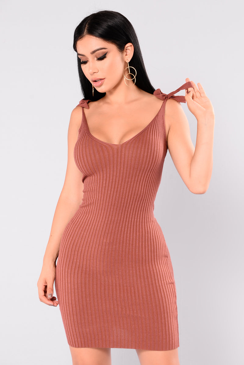 Adelia Ribbed Dress - Marsala