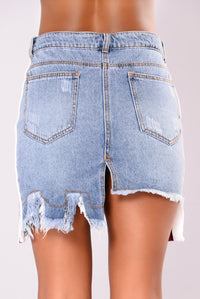 Run Through Denim Skirt - Denim