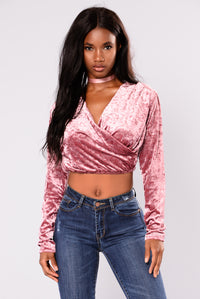 Mi Amore Velvet Crop Top - Dark Mauve