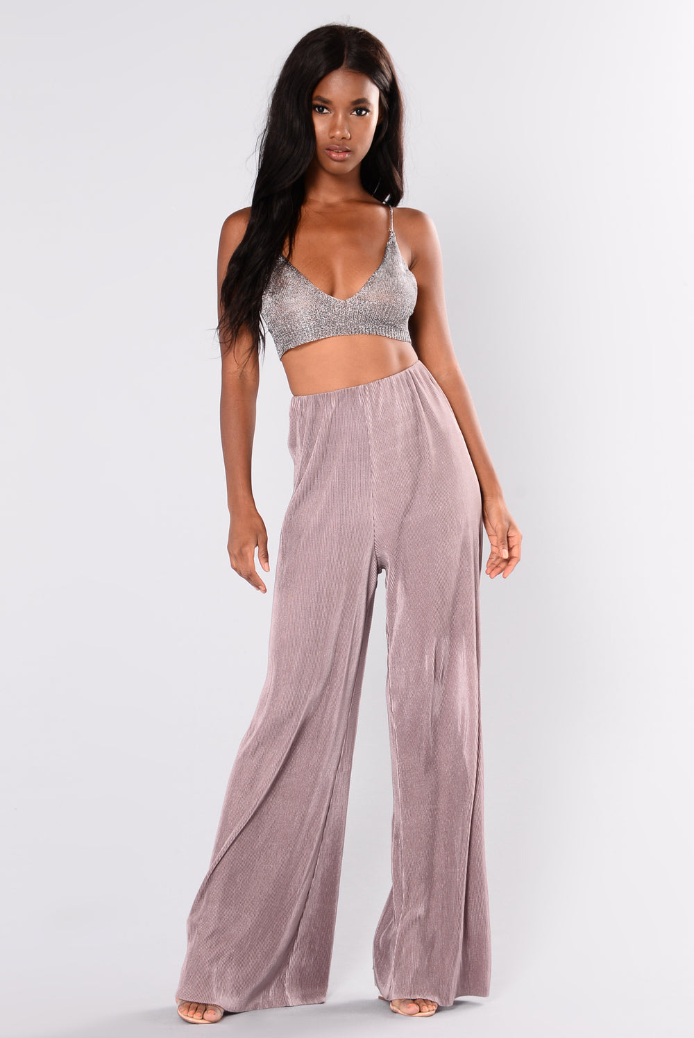 Layla Satin Pleated Pants - Dusty Lavender