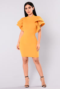 Serafina Ruffle Dress - Mustard