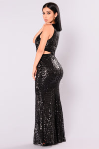 Starry Night Sequin Dress - Black