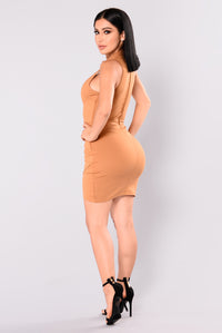 Joyce Asymetrical Dress - Caramel