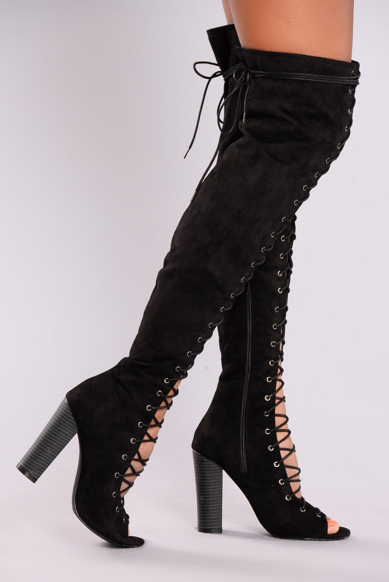 Barbie Lace Up Heel Boot - Black