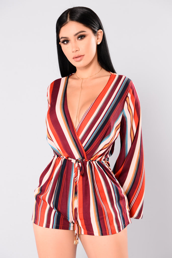Shack Striped Romper - Burgundy Stripe