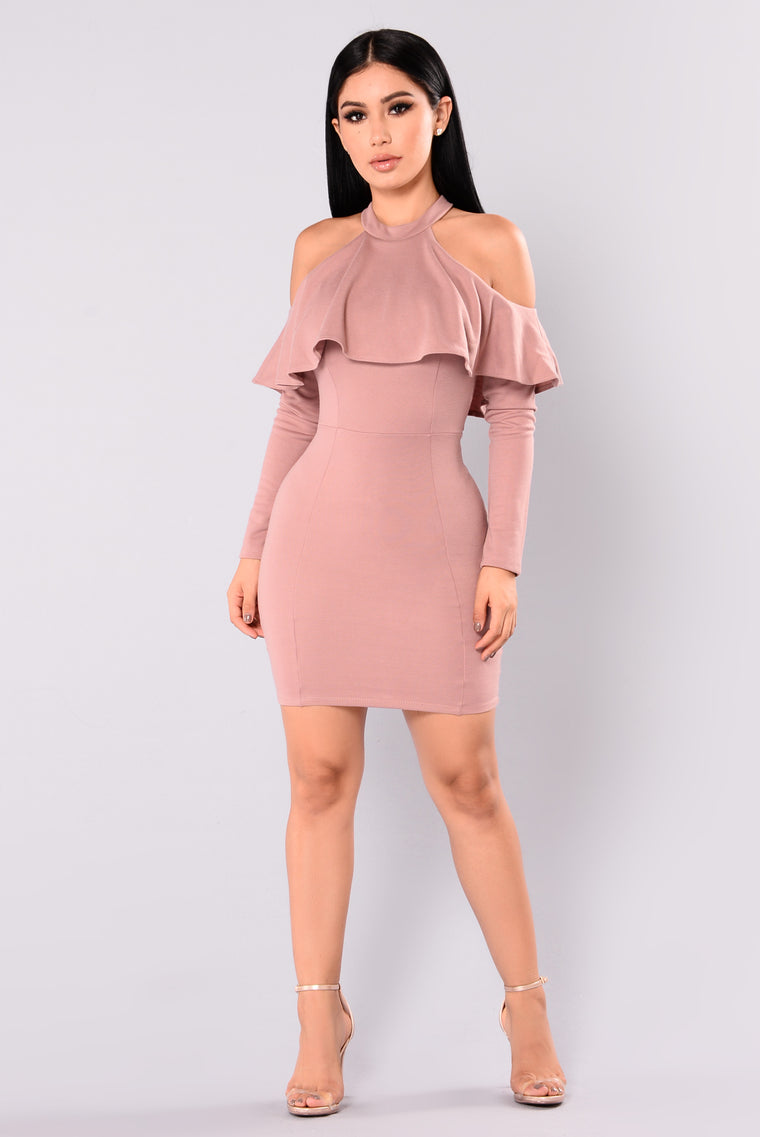 Catarina Flounce Dress - Mauve