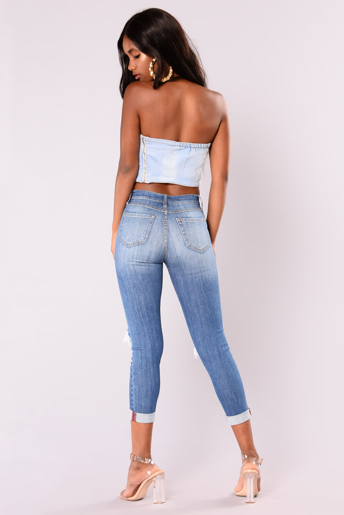 Watch Me Now Denim Top - Blue
