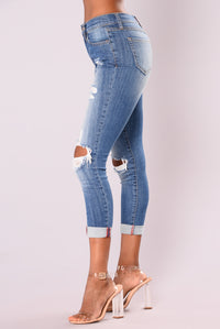 Nadia Distressed Boyfriend Jeans - Medium Blue