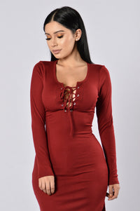 Friday Night Fever Dress - Burgundy Angle 2