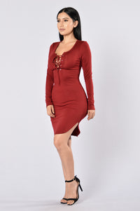 Friday Night Fever Dress - Burgundy Angle 6